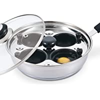 Eggssentials Poached Egg Maker - Nonstick 4 Egg Poaching Cups - Stainless Steel Egg Poacher Pan Food Grade Safe PFOA Free with Bonus Spatula
