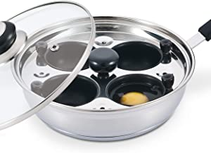 Eggssentials Poached Egg Maker - Nonstick 4 Egg Poaching Cups - Stainless Steel Egg Poacher Pan PFOA Free with Spatula, Poacher Cup has Nonstick Coating