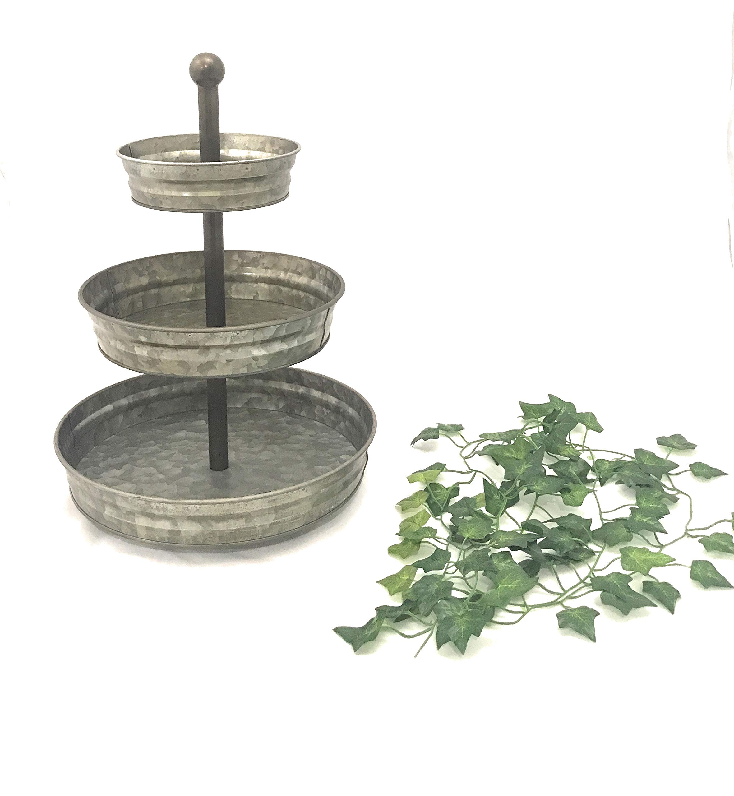 3 Tier serving tray galvanized farmhouse stand with 6' ft of Artificial Ivy