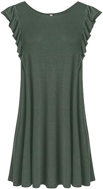 7db8d027463 Women s Sleeveless Tunic Flowy Tank Top Plus Size Tunics for Women with  Ruffle - USA (