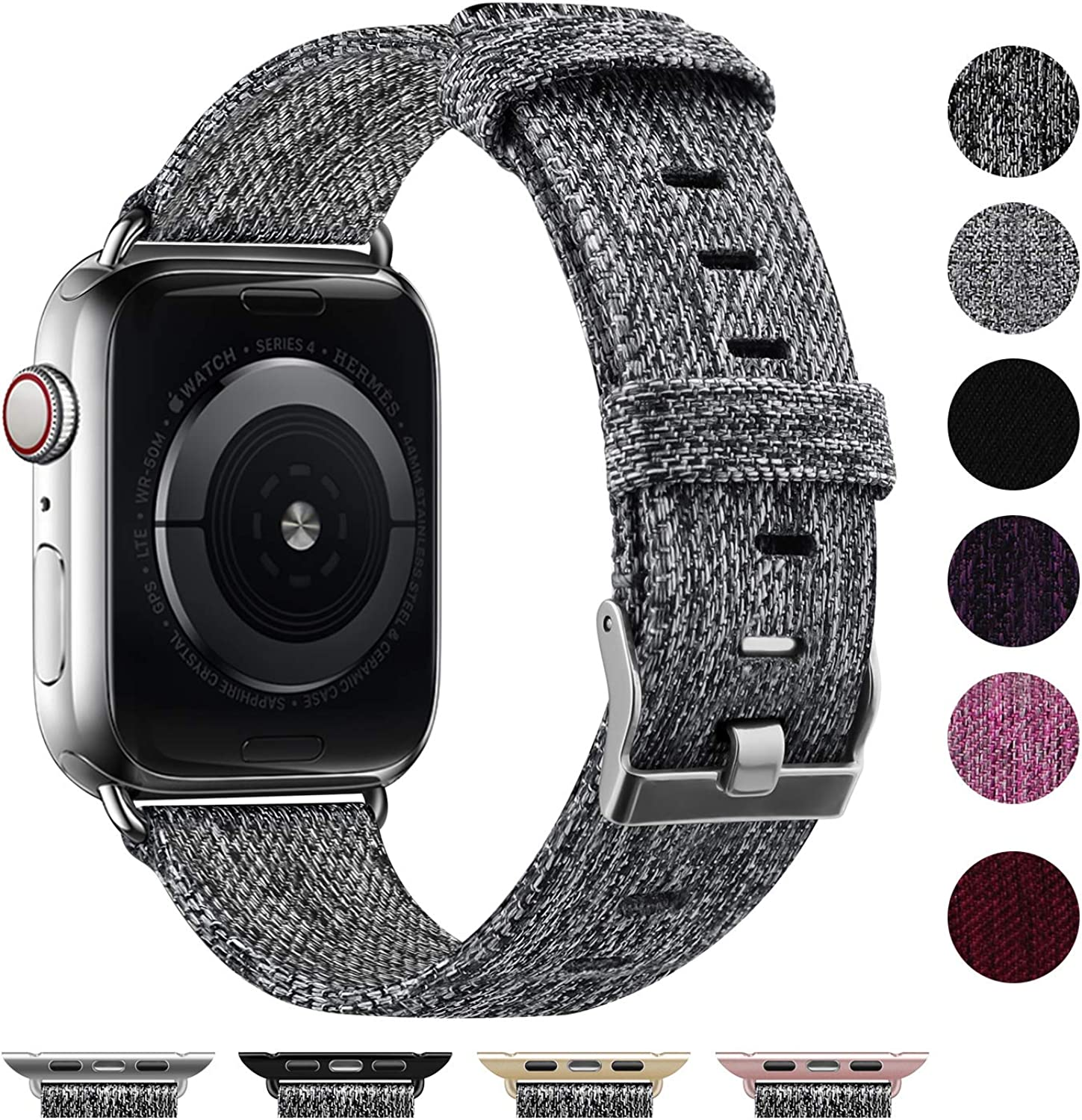 Vitty Woven Fabric Band Compatible with Apple Watch 38mm 40mm 42mm 44mm for Women Men, Soft Woven Fabric Replacement Band, Adjustable Wristband for iWatch Series 5, 4, 3, 2, 1