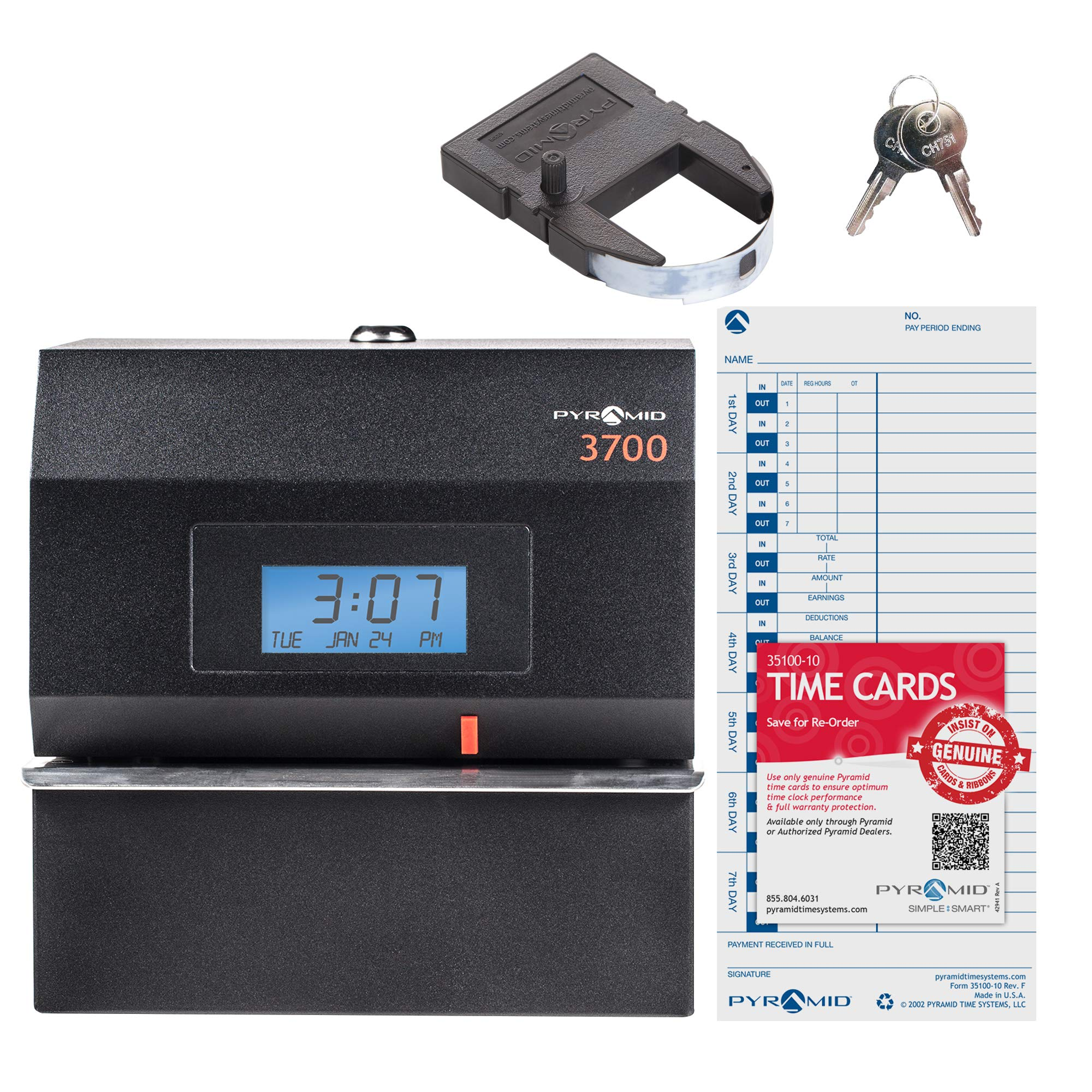 Pyramid 3700 Heavy Duty Steel Time Clock and Document Stamp - Made in the USA by Pyramid Time Systems