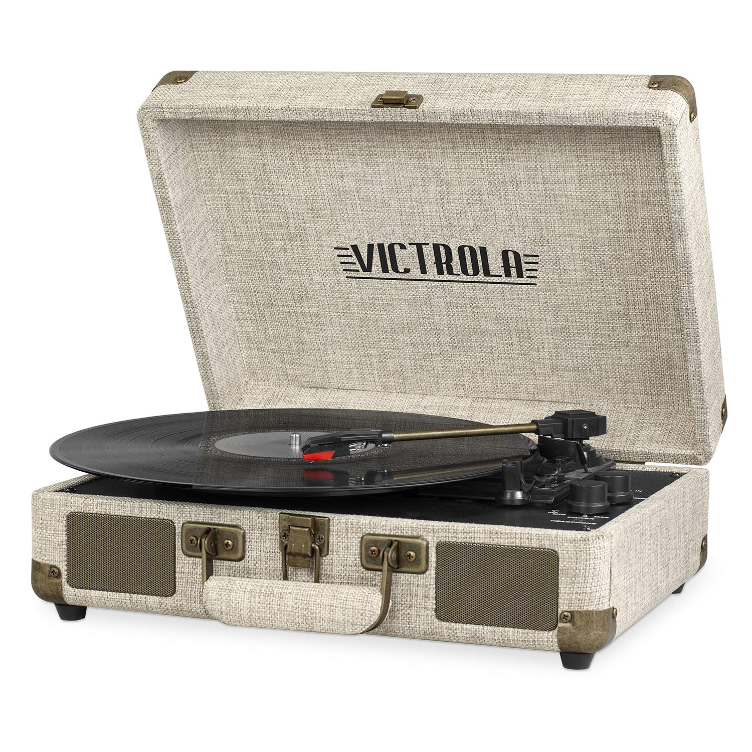 Victrola Bluetooth Suitcase Record Player with 3-Speed Turntable, Light Beige Linen