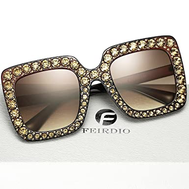 5f6cdf5254 FEIRDIO Oversized Crystal Sunglasses For Women Sparkling Square Thick  Sunglasses FD 2264 (Brown-gradient)  Amazon.co.uk  Kitchen   Home