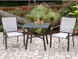 Hanover FOXDN3PCS-GRY Foxhill 3-Piece Grade Bistro Set Commercial Outdoor Furniture, Gray/Gunmetal