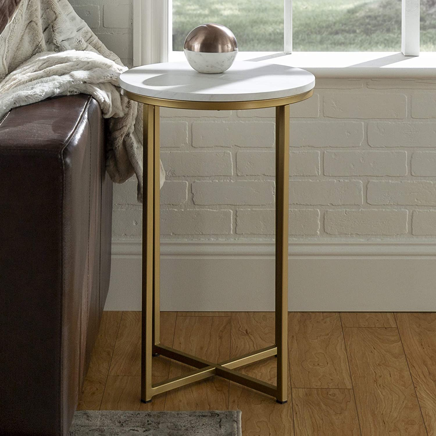 New 16 Inch Round Side Table In Gold With Faux Marble Top Kitchen Dining