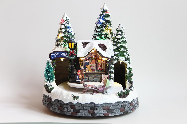 22cm Clock Tower Festive Led Light up Musical Christmas Train Station Scene with Revolving Train