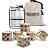 GoSports Giant Wooden Playing Dice Set with Bonus Rollzee Scoreboard (Includes 6 Dice, Dry-Erase Scoreboard and Canvas Carrying Bag)