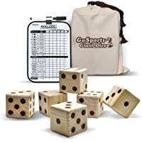 """GoSports Giant 2.5"""" Wooden Playing Dice Set with Bonus Rollzee Scoreboard (Includes 6 Dice, Dry-Erase Scoreboard and Canvas Carrying Bag)"""