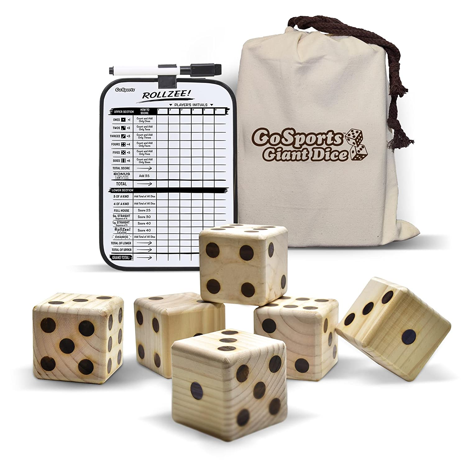 GoSports Giant Wooden Playing Dice Set for Jumbo Size Fun (Includes 6 Dice and Canvas Carrying Bag) GD-6-01