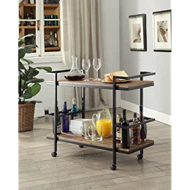 Vintage Brown Black Metal Modern 2-tier Serving Wine Tea Dining Kitchen Cart with 6 Bottle Holder