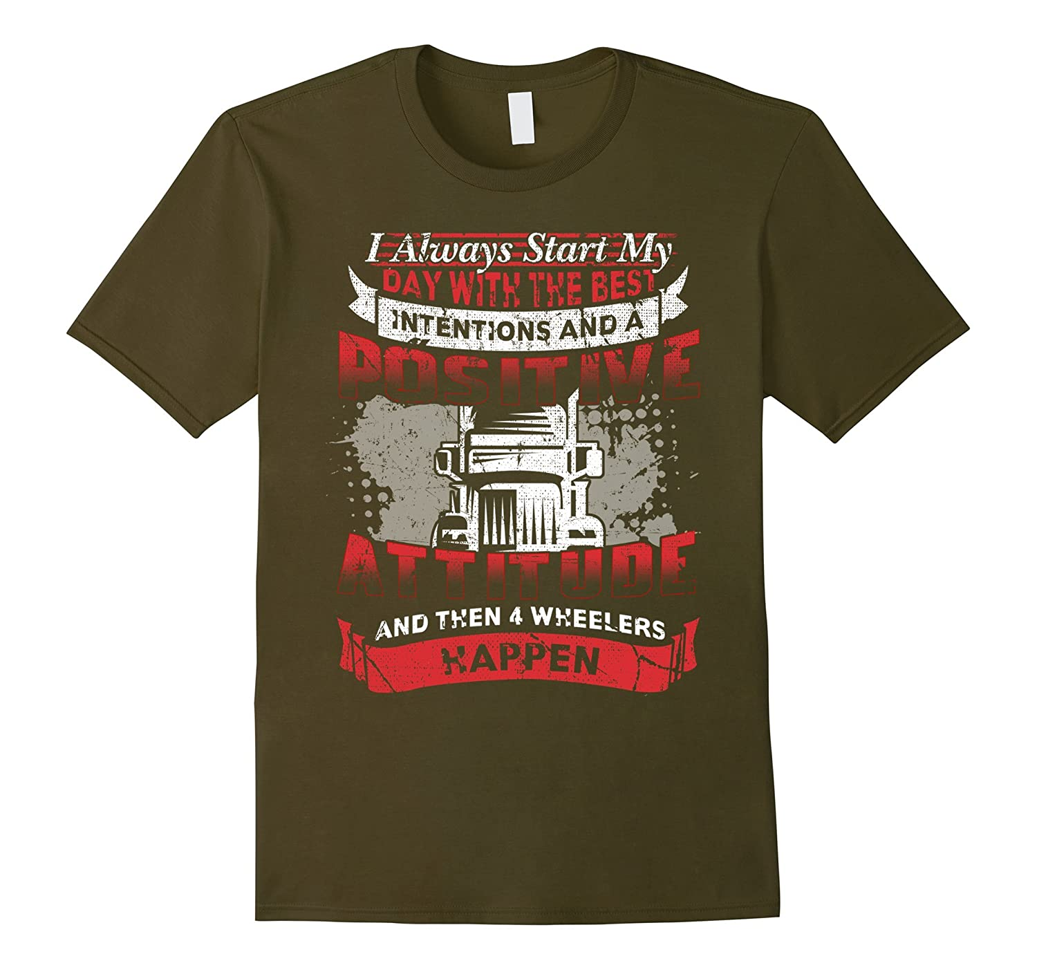 FUNNY, POSITIVE ATTITUDE TRUCK DRIVER, TRUCKER T SHIRT-CL