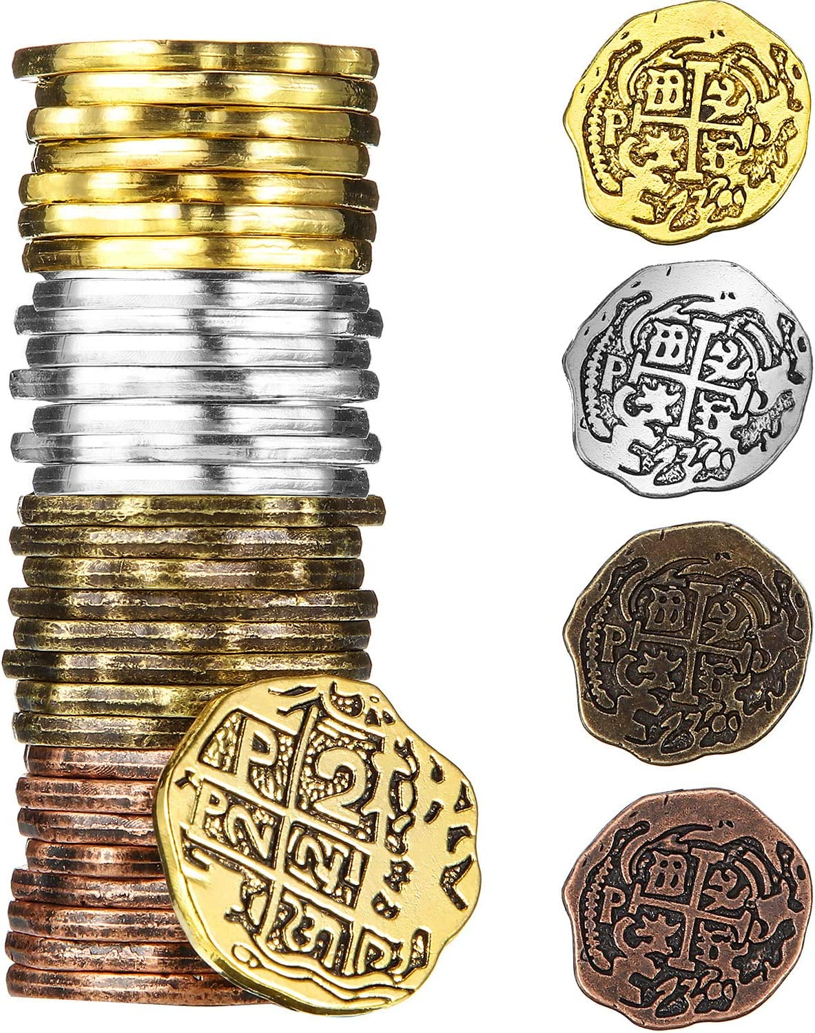 Color Set 2, 35 Pieces Hicarer Metal Pirate Coins Spanish Doubloon Replicas Pirate Treasure Coin Toys for Halloween Party Favor Decorations