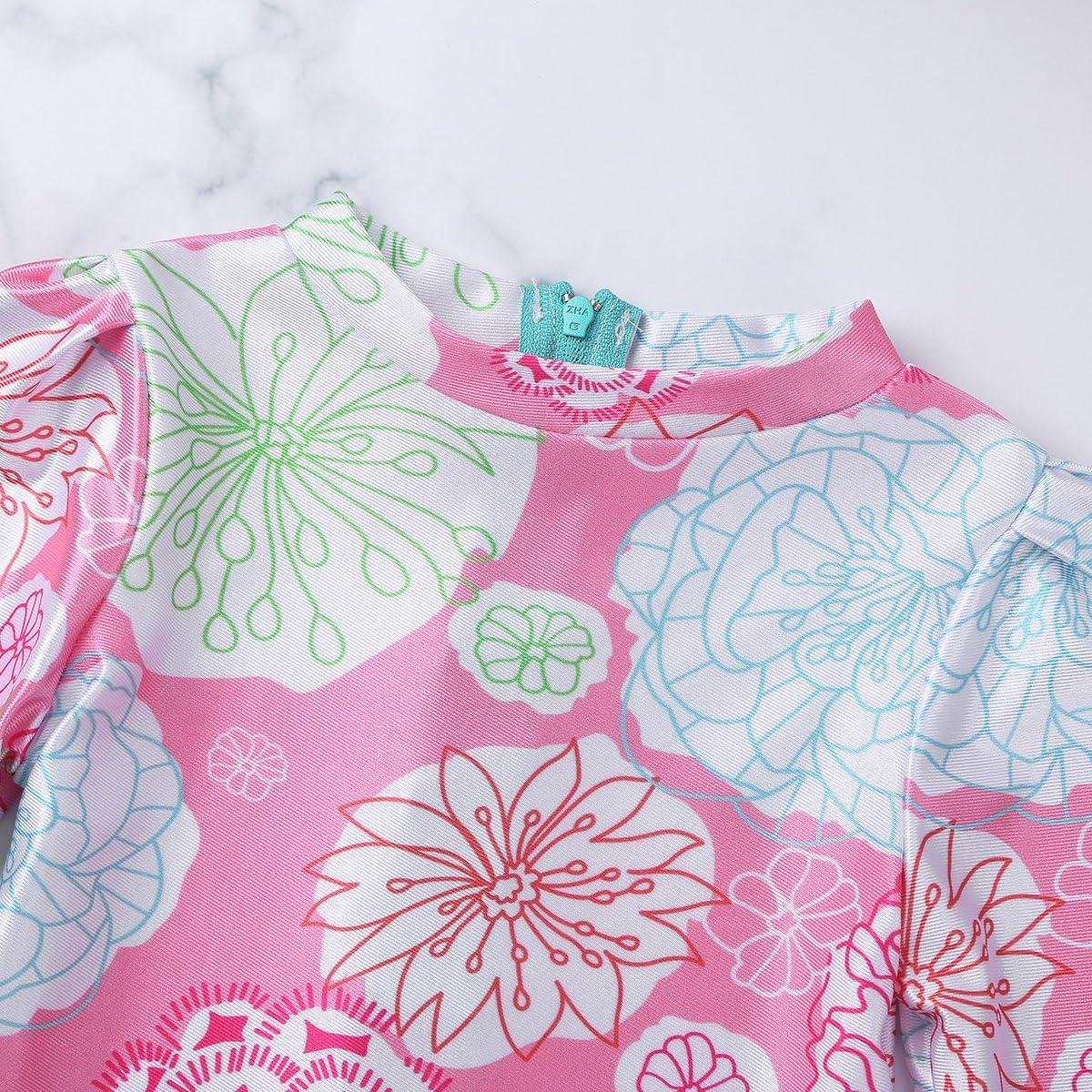 Agoky Baby//Toddler Girls Long Sleeve Rash Guard 2-Piece Swimsuit Set Floral UPF 50 Sun Protection Bodysuit Swimwear