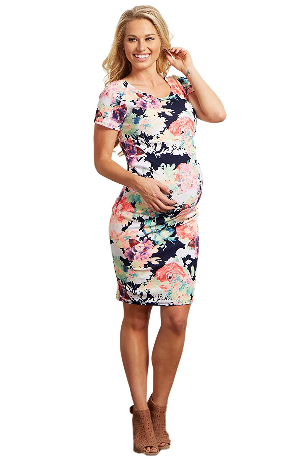 6086391fa40f PinkBlush Maternity Neon Floral Print Fitted Dress at Amazon Women's  Clothing store: