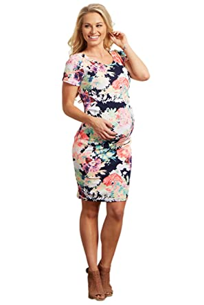0e1ca87607bdb PinkBlush Maternity Navy Neon Floral Print Fitted Maternity Dress, Small