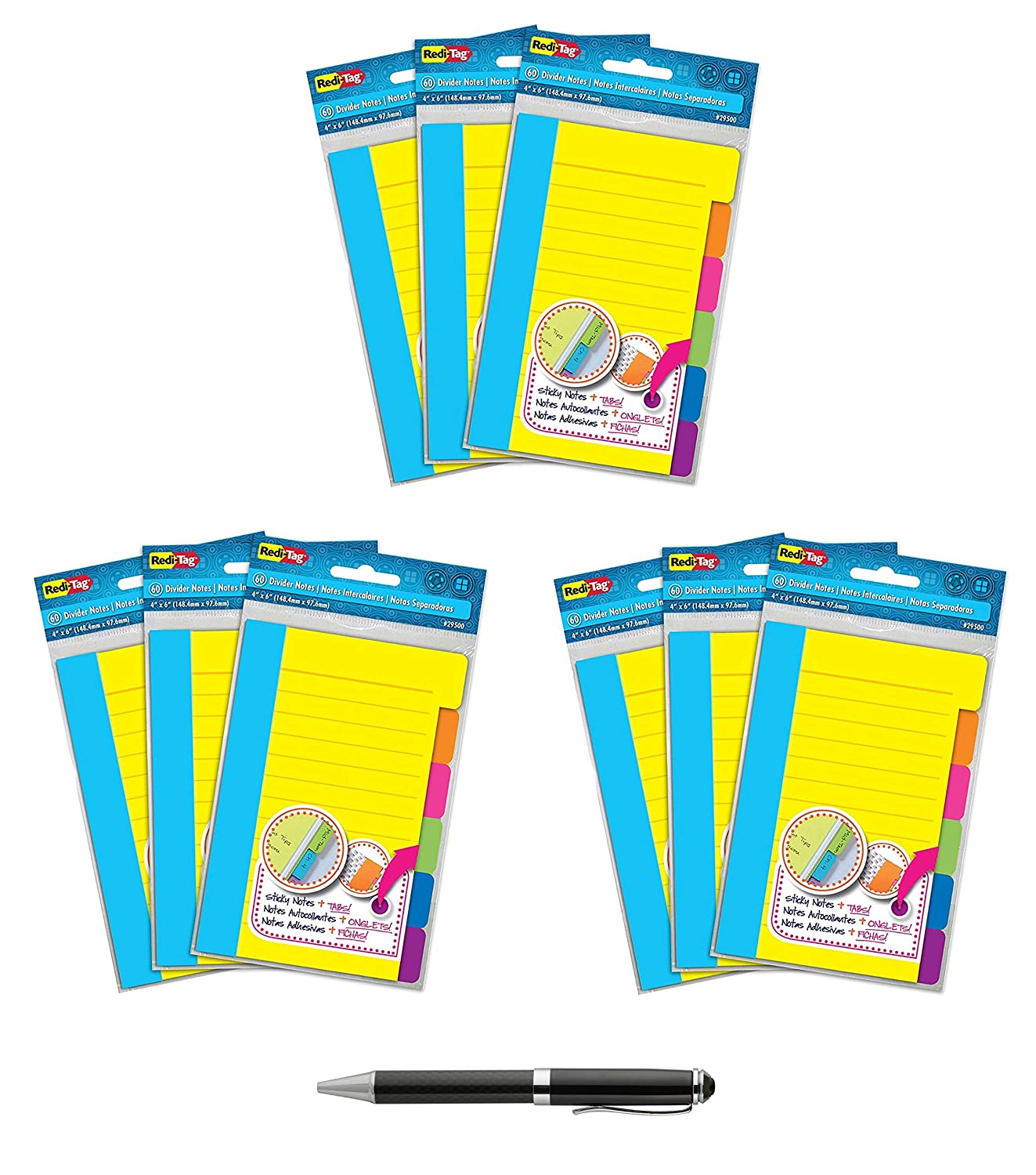 Redi-Tag-Divider Sticky Notes 60 Ruled, 4 X 6-Inch, Assorted Neon Colors-29500