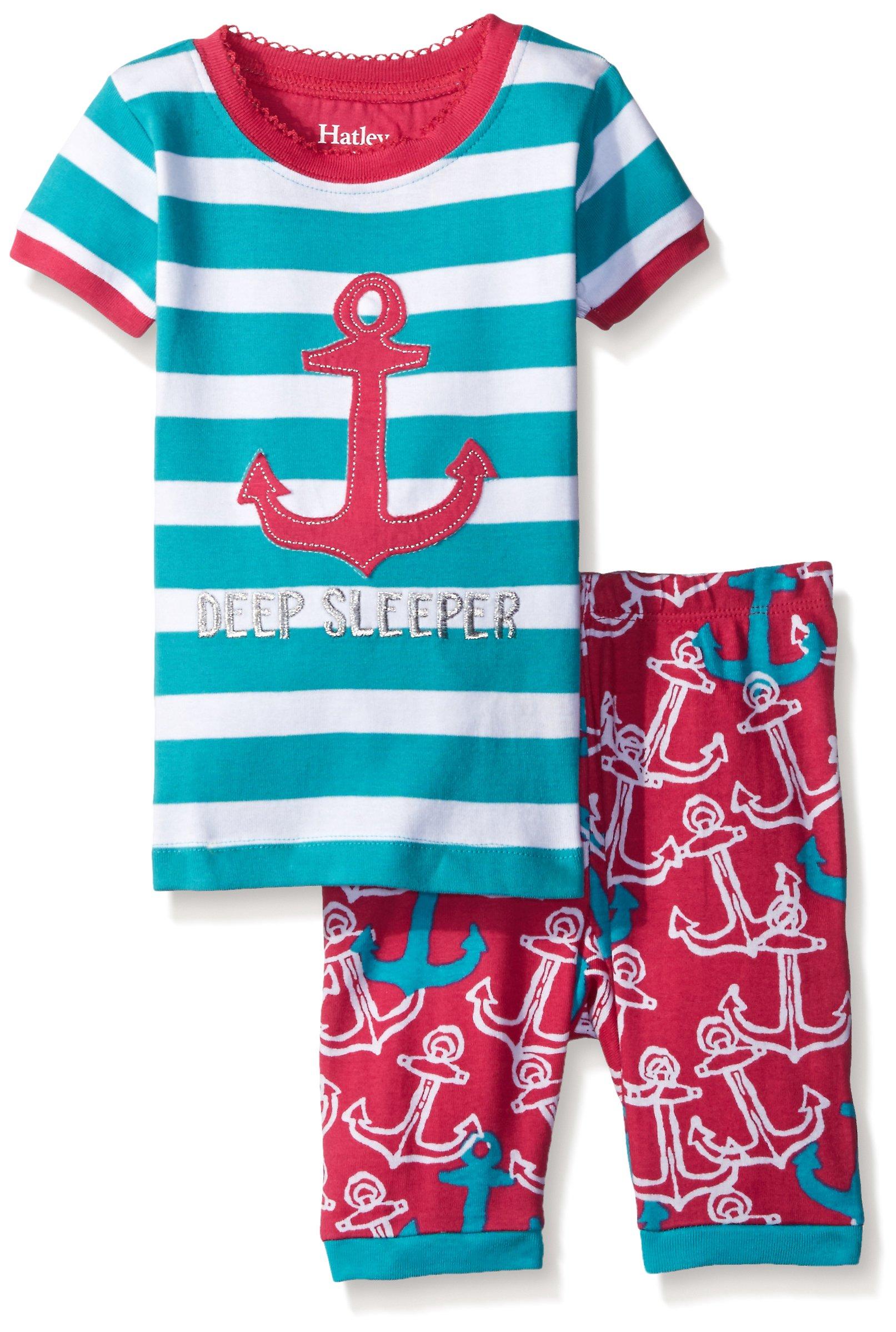Hatley Kids Girl's Painted Anchors Short PJ Set (Toddler/Little Kids/Big Kids) Light Blue 3T (Toddler)
