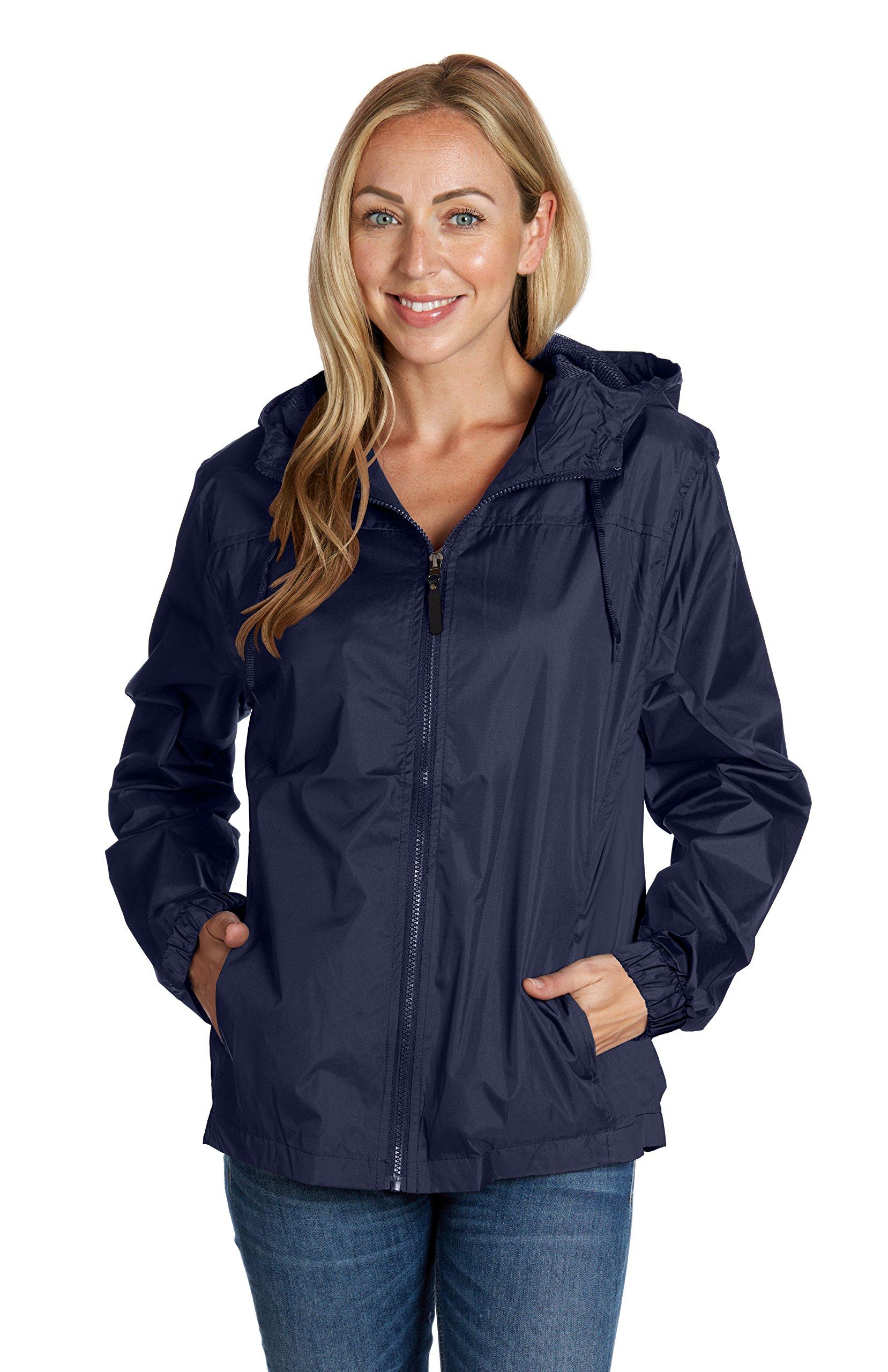 Equipment De Sport USA Basketball Jackets for Women Ladies Hooded Navy Blue Windbreaker (2XL)