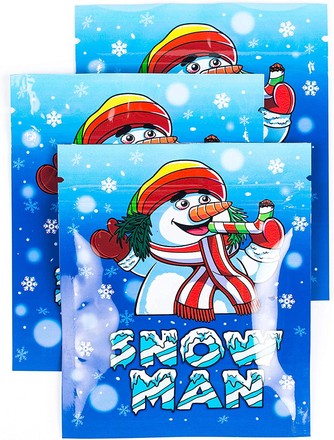 200 PACK | BEST Designs | Smell Proof Mylar Bags 3.5g | Resealable Ziplock Food Safe Aluminum Foil Plastic Baggies ([200 Pack] - 3.5 x 4 in, Snow Man)