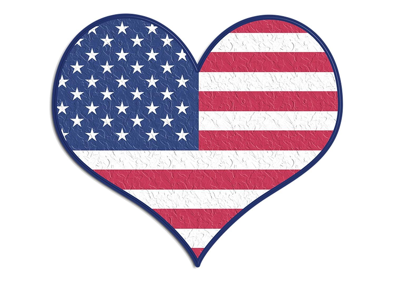 4 USA Flag Heart Sticker Bumper Sticker 5 x 4 Car Decal Gift Patrioyic American