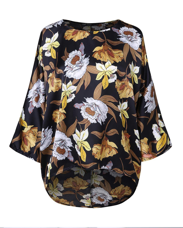 ZANZEA kvinnor fladdermus toppar lös solid oregelbunden kortärmad baggy t-shirt avslappnad tunika blus pullover jumper Y-floral Black 1