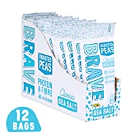 BRAVE Roasted Peas - Delicious high Protein, high Fibre Snack - Sea Salt (12 x 35g)