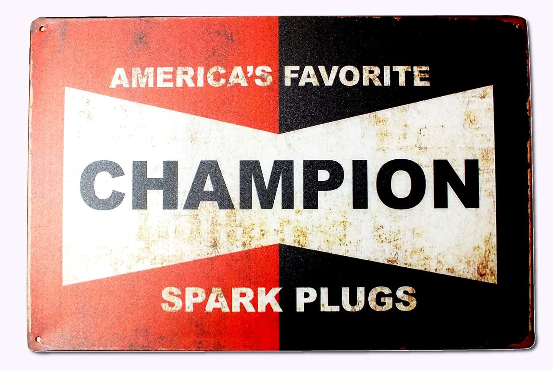 Targa in Metallo Vintage America Favorite Spark Plug Candela Champion 20 x 30 cm boutique disacrea