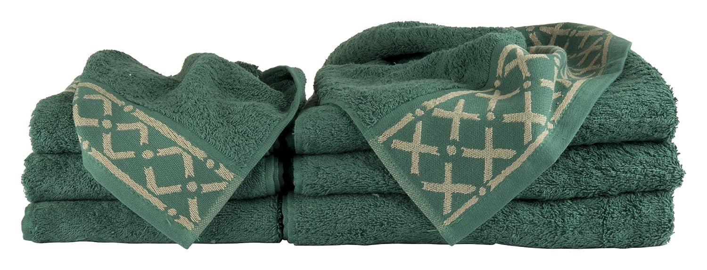 Set Ponza Verde 6 pezzi Salvietta più Ospite in Spugna 100% Cotone Made in Italy Zenoni&Colombi