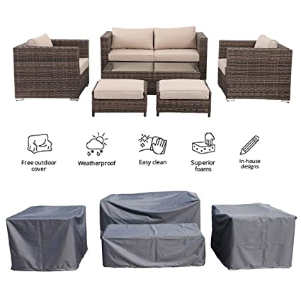 Madison Home Florida 6 Pieces Outdoor Garden Rattan Sofa Set, Premium  Wicker Conversation Patio Furniture