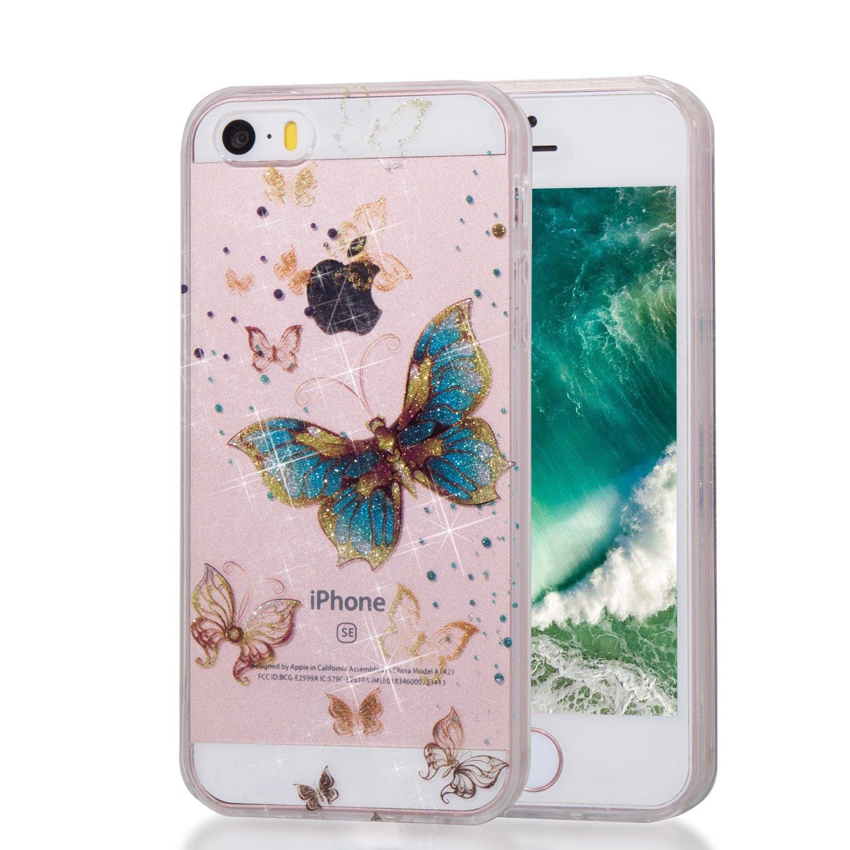 Qiaogle Telé fono Caso - Funda de TPU Silicona Carcasa Case Cover para Apple iPhone 5 / 5G / 5S / SE (4.0 Pulgadas) - YB72 / Azul Mariposa