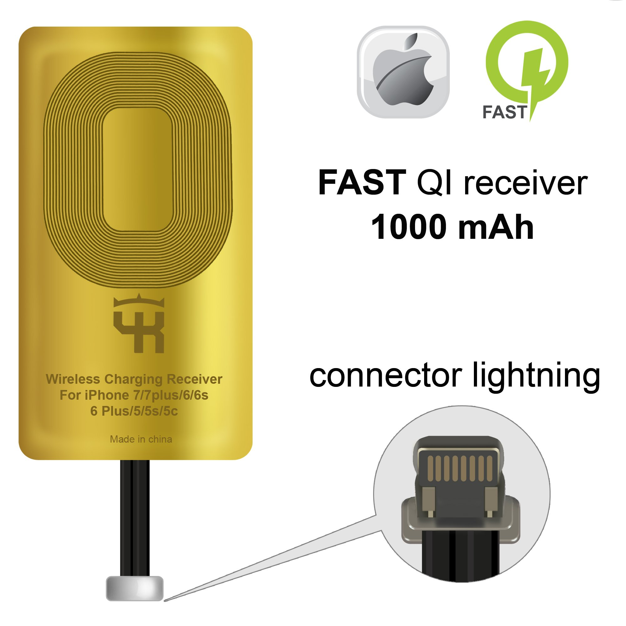 QI Receiver for IPhone 5- 5c- SE- 6- 6 Plus- 7- 7 Plus- IPhone Wireless Receiver- QI Receiver- Charging Receiver - QI Wireless Receiver IPhone- QI Wireless Charging Adapter by YKing