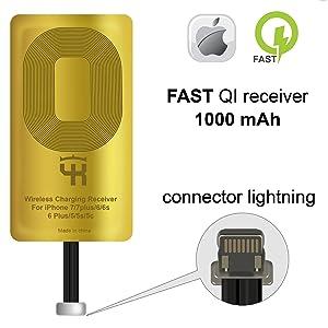 QI Receiver for IPhone 5- 5c- SE- 6- 6 Plus- 7- 7 Plus- IPhone Wireless Receiver- QI Receiver- Charging Receiver - QI Wireless Receiver IPhone- QI Wireless Charging Adapter