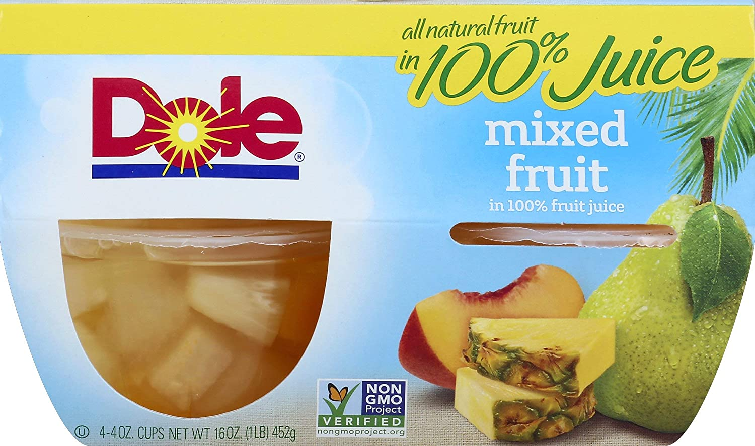 Dole Fruit Bowls, Mixed Fruit in 100% Fruit Juice, 4oz, 4 cups