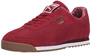 PUMA Roma Men's Suede Paisley Sneaker, Biking Red/White/Tea, 11 D US