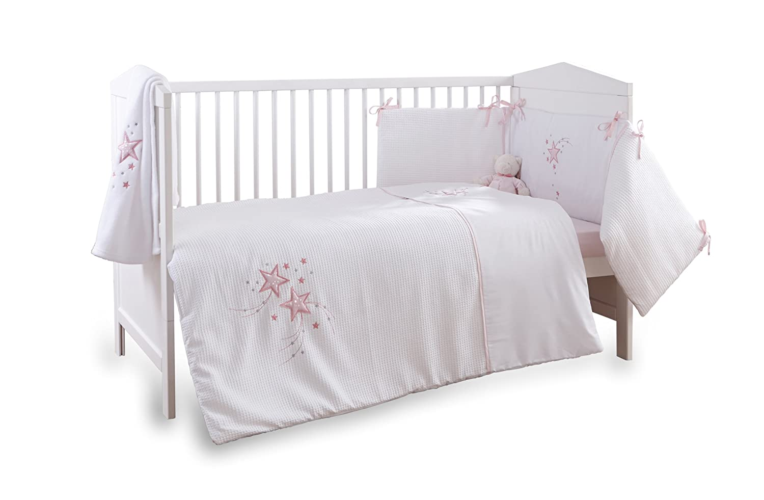 Clair de Lune 3-Piece Pink Stardust Cot/Cot Bed Quilt, Bumper and Fitted Sheet Bedding Set CL4815P