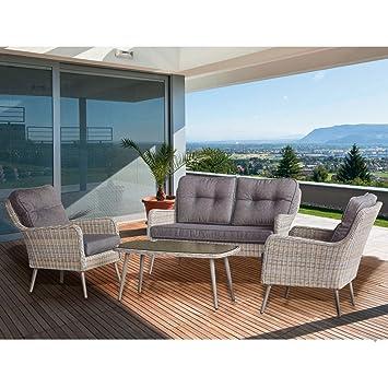 Salon de jardin en rotin table basse, canapé et 2 fauteuils Jiji ...
