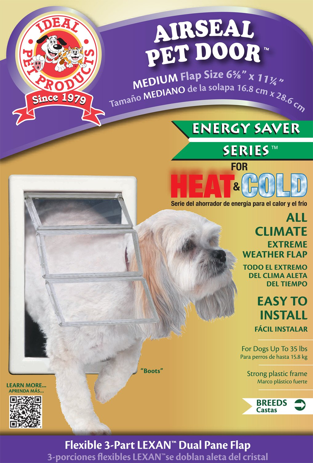 Ideal Pet Products Air Seal Pet Door with Telescoping Frame, Medium, 6.63'' x 11.25'' Flap Size