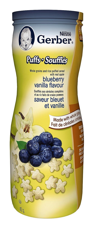 Gerber Blueberry Vanilla Puffs, Snack, 42g canister (6 pack) Nestlé
