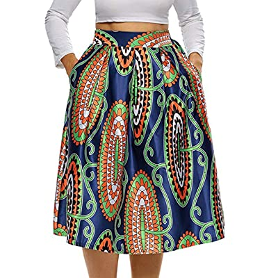 940 - Vintage High Waist Floral African Ethics Printed Skater A-Lined Midi Plus Size Skirt at Women's Clothing store