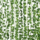 Artificial Plant Fake Hanging Vine Ivy Leaves Greenery Garland for Wedding Backdrop, Jungle Decorations, Safari Party Supplies, Farmhouse Wreath, Artificial Flower 12 Pcs of 82 inch