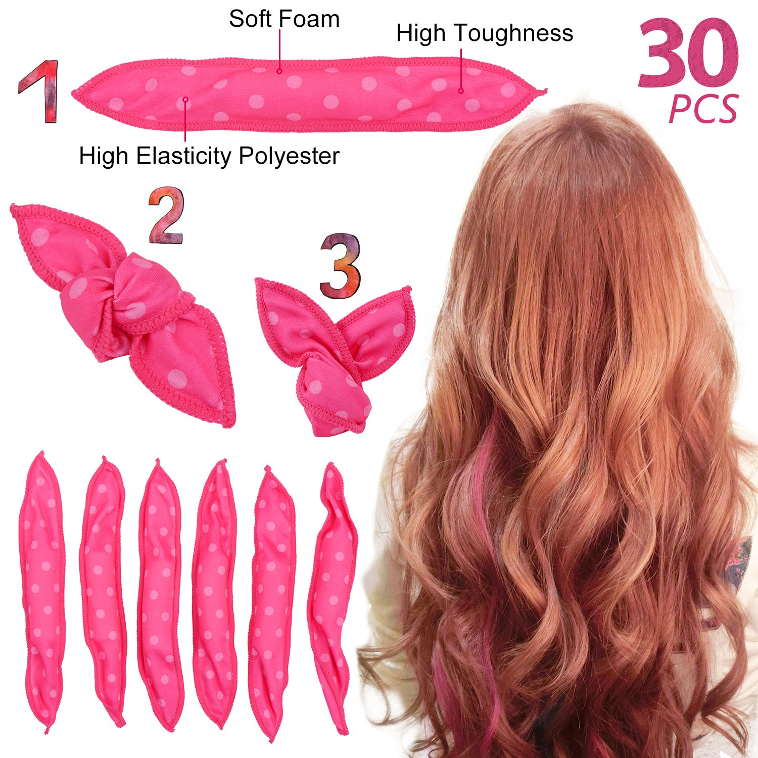 Ameauty Foam Hair Rollers for Long Medium Hair, No Heat, No Harm, Soft and Can be Used at Night for Save Time, Styling Tool For Women and Girl (30Pcs, Rose)