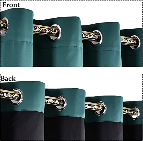 YGO Heat Blocking 100 Percent Blackout Curtains Durable Black Lined Blackout Curtains for Bedroom, Energy Saving Long Curtains for Patio Sliding Glass Door Hunter Green 52 inch x 95 inch 2 Panels