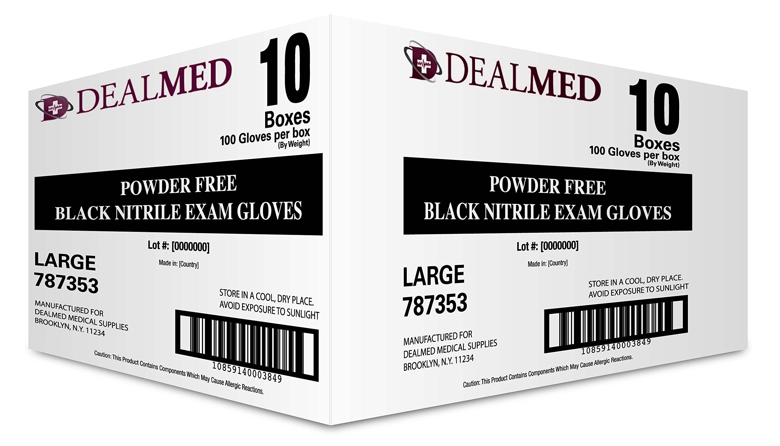 Dealmed Brand Nitrile Medical Exam Gloves, Disposable, Latex Free, Black, 1000 Count, Size Large
