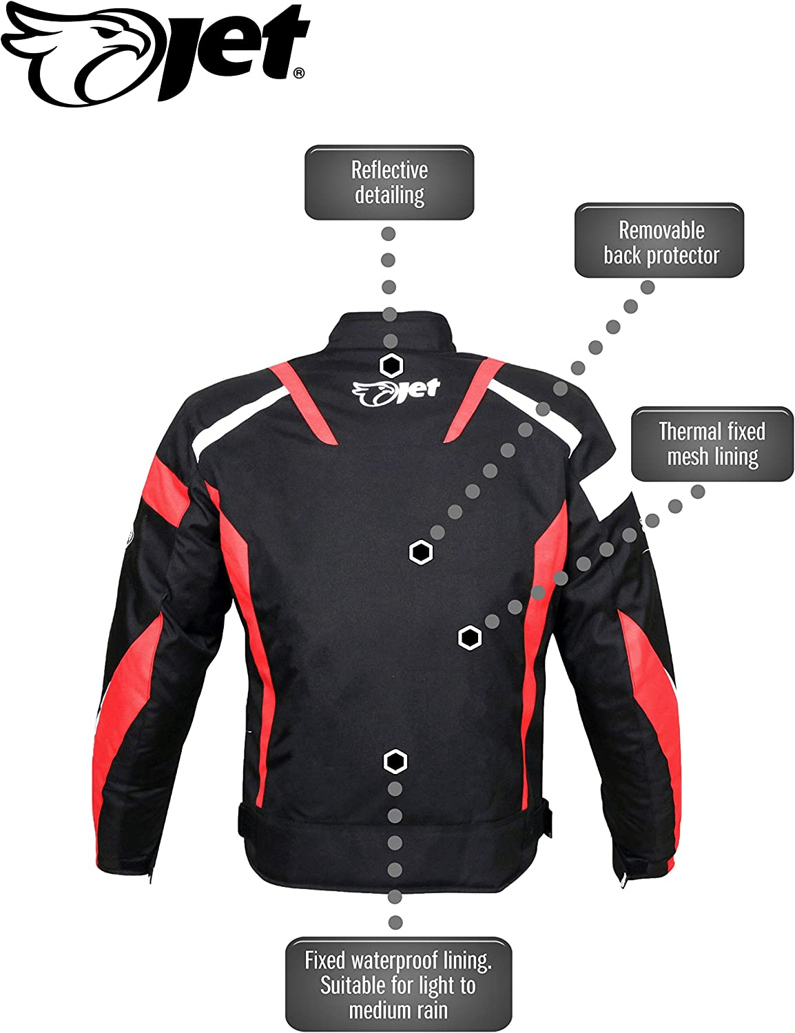 38-40 Green, Medium JET Motorcycle Motorbike Jacket Scooter Moped Commuter Urban Rider Protective Jacket Textile Armoured ECONOTECH