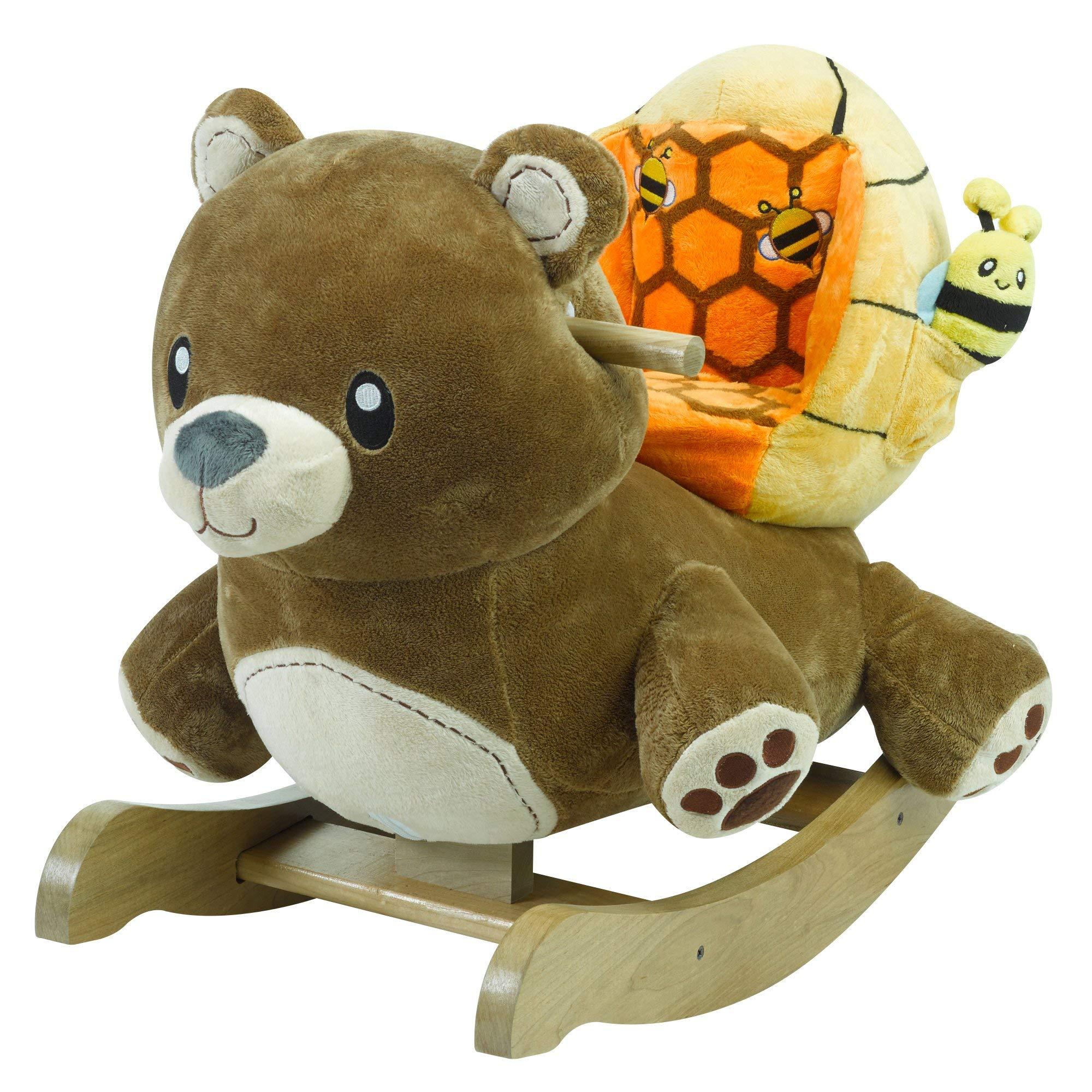 Honey Bear Rocker | Horse Plush Butterfly Baby Toy with Wooden Rocking Chiar Horse/Kid Rocking Toy/Baby Rocking Horse/Rocker/Animal Ride