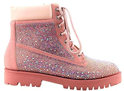 Raven-6 Women Military Combat Rhinestone Embellished Ankle Bootie Pink