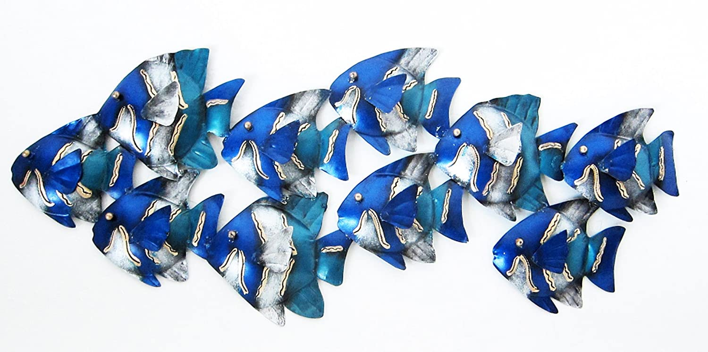 Bleu m/étal Art Mural VERT// turquoise peint School of poisson 3 DIMENSIONS