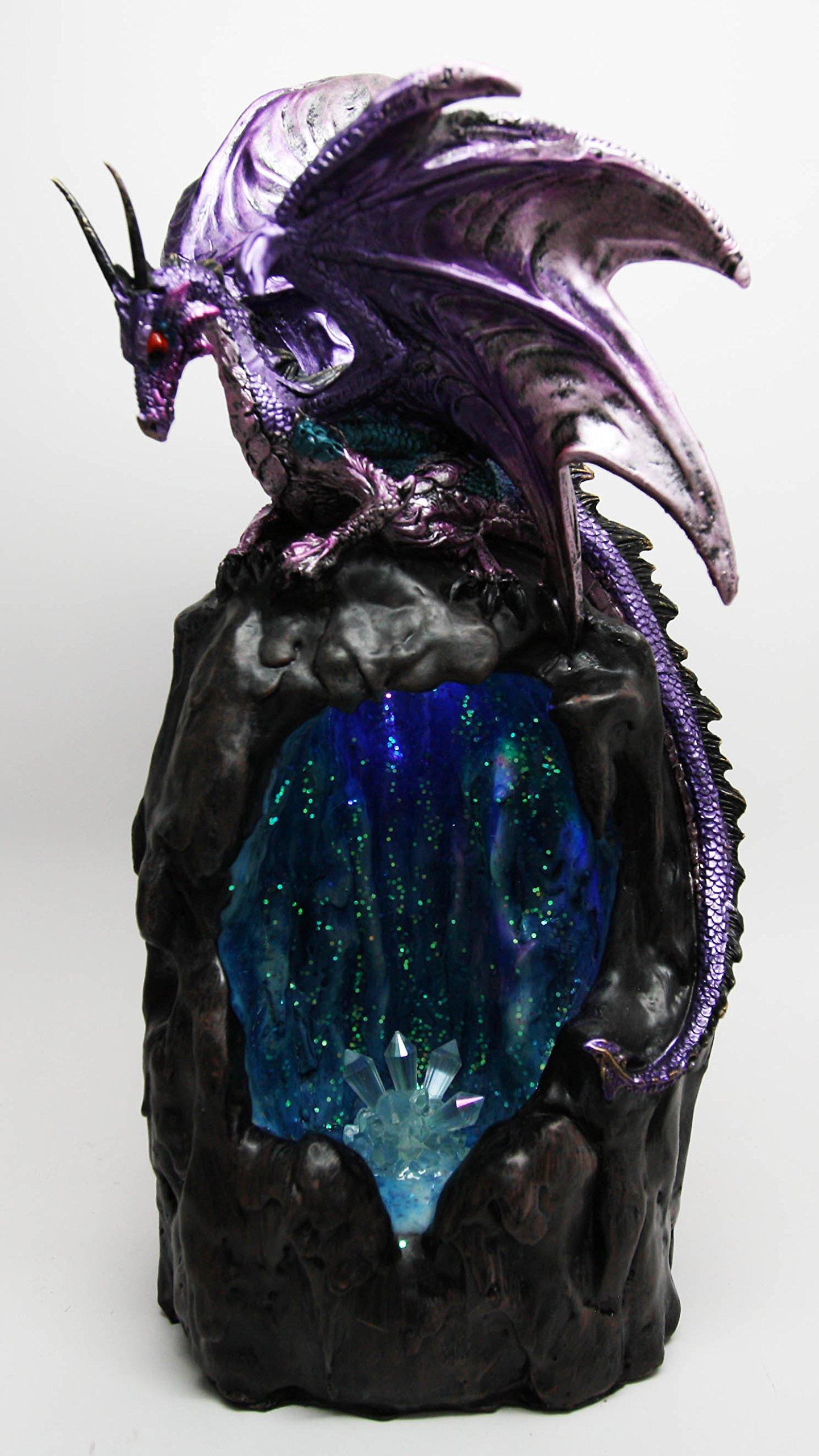 Ebros Purple Azurite Quartz Dragon Climbing On Gemstone Mountain Backflow Incense Burner Figurine Faux Stone by Ebros Gift (Image #7)