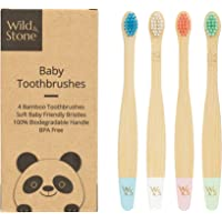 Wild & Stone Organic Baby Bamboo Toothbrush | Four Colours | Soft Fibre Bristles | 100% Biodegradable Handle | BPA Free…